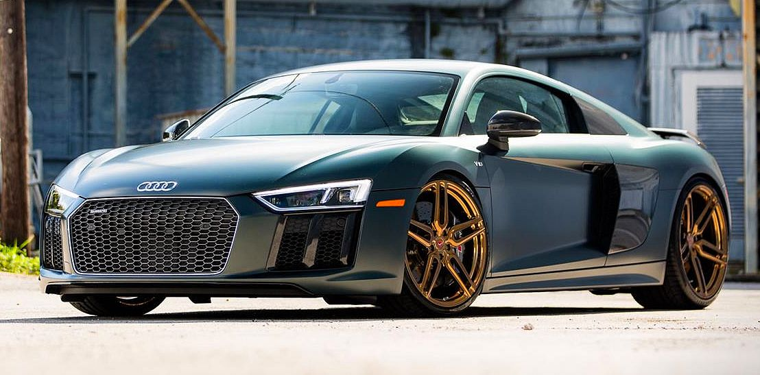 Audi R8 On Gold Vossen Forged Wheels