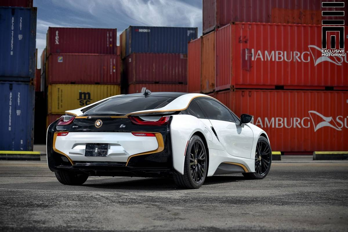 Wrapped Bmw I8 With Gold Details By Exclusive Motoring