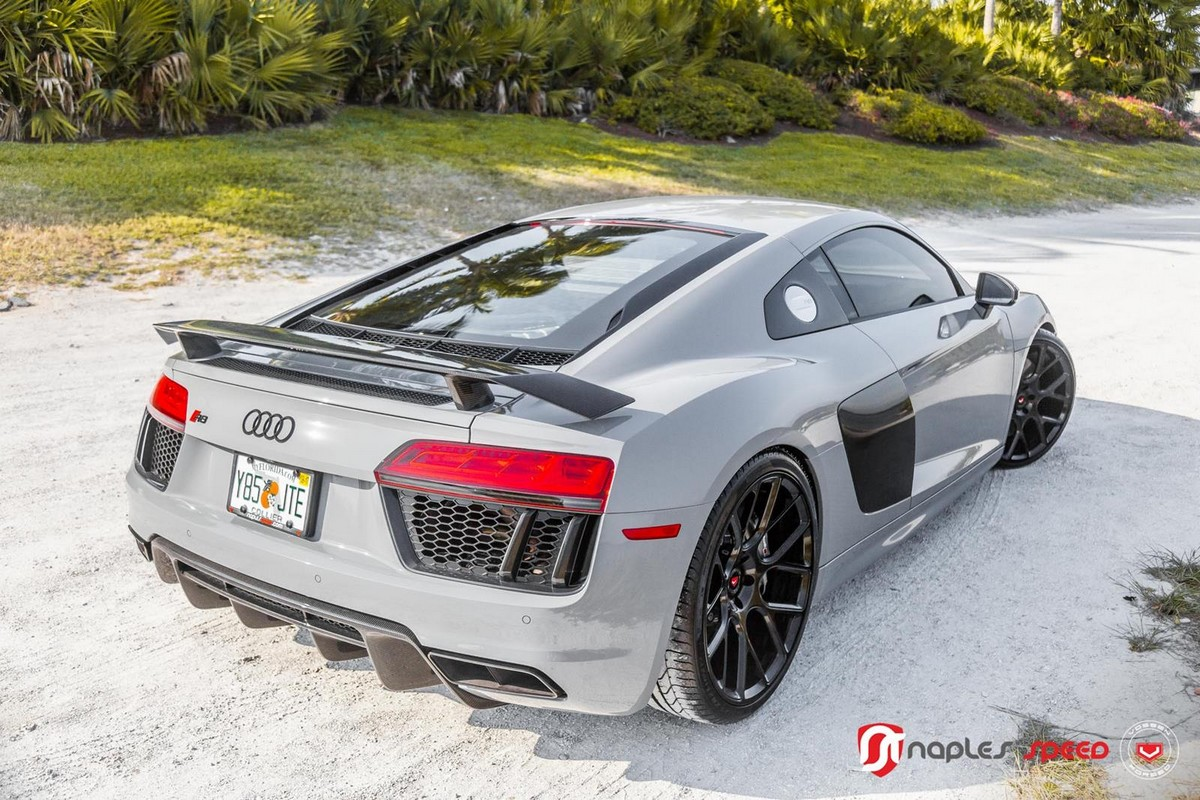 Nardo Grey Audi R8 On Black Vossen Wheels