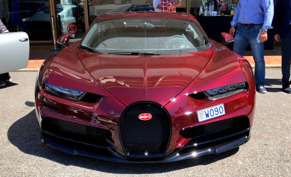 Bugatti Chiron In Red Exposed Carbon Fiber