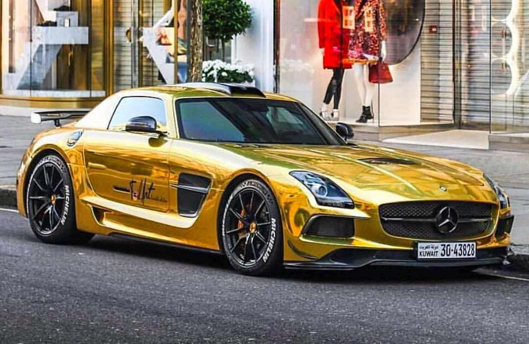Mercedes Sls Black Series Wrapped In Gold Chrome Foil Art